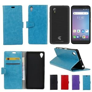 Telstra Essential Plus Leather Wallet Cover Soft Back Case with Stand