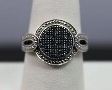 SJ Sterling Silver & Blue Diamond Ring Size 8.75