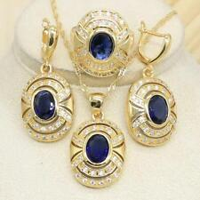 Women Blue Sapphire CZ Gold Plated Jewellery Set Necklace Earrings Ring Set