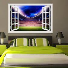 3D Window View Football Playground Soccer Wall Decal Sticker Vinyl Wallpaper