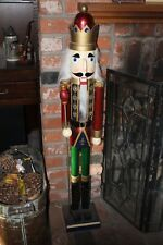 "Vtg Large 42"" Tall Hand Crafted & Painted ""Wiseman King"" Wooden Nutcracker"