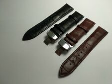 Real Leather Watch Band Strap Butterfly Deployment Clasp for Rado Samsung Rotary