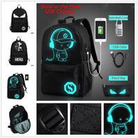 Men Women Backpack School Bag Luminous +Anti-theft Lock+USB Charger Bags