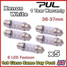 5x 36mm 37mm matrícula Luz Interior Festoon bombilla 6 Led Xenon Blanco 239 272