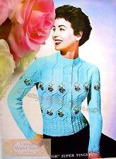 Vintage Knitting Pattern Lady's Floral Tyrolean Jumper Coat / Cardigan