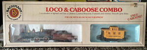 Vintage Bachmann HO Scale STEAM Loco Engine and Caboose Combo W/Box