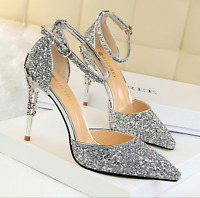 New Women's Stiletto Pointed-toe High Heels Bling Pumps Wedding Party Shoes W509
