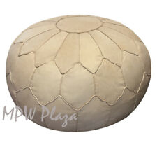 MPW Plaza Pouf, Retro Shell, Natural, Moroccan Leather Ottoman (Stuffed)