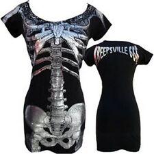 Kreepsville 666,skeleton black dress with silver foil skeleton, alternative/goth