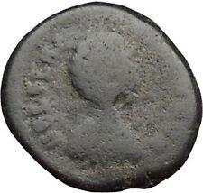 Aelia flacilla 379ad Antigua Rara Moneda Romana Victoria chi-rho Cristo Monog i32824