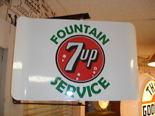 7-UP 40S  50S ERA SPINNING WALL MOUNT ADVERTISING SIGN 2 SIDED