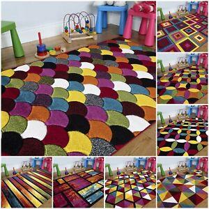 Thick Multi Colour Children's Playroom Bedroom Nursery Rugs For Kids Boys & Girl
