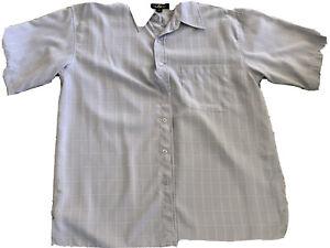 Oleg Cassini Mens Pale Blue Plaid Short Sleeve Button Up Silk Shirt Xl Free Ship