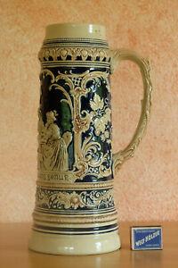 Alter großer antiker Bierkrug Relief Humpen XXL Jugendstil 3l Marzi & Remy