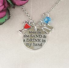 N6 Toes in the Sand & Drink in my Hand Charm Necklace - Gift Box