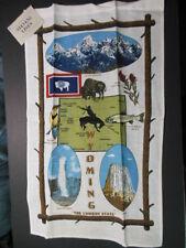 "1 NWT WYOMING Souvenir Linen Towel, 16.5"" x 26""  ""THE COWBOY STATE"""