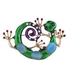 Jewelry Brooch Pin Rhinestone Crystal Stone Enamel Jeweled Lizard Gecko Green 18