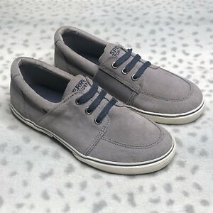 Sperry Voyager Suede Sneaker Boys Size 4 Gray Suede Slip On Shoe Casual