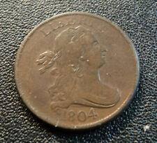 Vtg Antique 1804 Draped Bust Half Cent 1/2 Copper Coin Philadelphia Mint VF+
