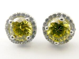 Sterling silver circular stud earrings with yellow and clear faceted stones.
