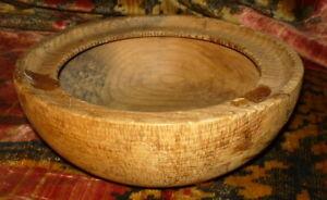 Rare Dec 25th 1907 Decorated Wood Burnt Serving Bowl Riverside California Ca