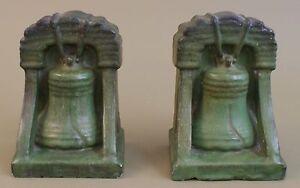 Denver Terra Cotta 1910's Curdled Matte Green Glaze Liberty Bell Pr Bookends