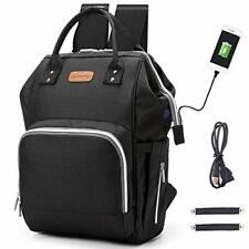 Diaper Bag Backpack, hopopower Multifunction Travel Backpack with USB (Black)