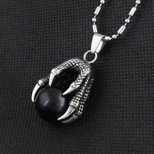Fashion Titanium Steel Dragon Eagle Claw Pendant Necklace Black Agate ball X006