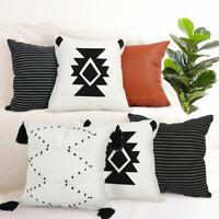 Plain Faux Leather Throw Cushion Cover Cotton Pillow Case Boho Home Sofa Decor