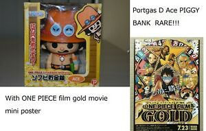ONE PIECE Panson Works Portgas D Ace PIGGY BANK Figure Movie Mini Poster JP USED