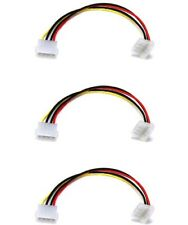 """3x 9"""" 4 Pin MOLEX 5.25 MALE to 90 Degree Right Angle FEMALE Power Supply Cable"""