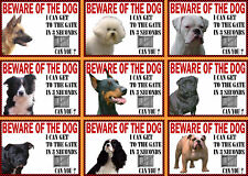 Beware Of The Dog Sign Gate in 3 Seconds Various Breeds set2