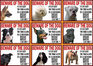Beware Of The Dog Sign Gate in 3 Seconds Various Breeds Set B