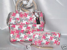 GUESS Romeo Box Satchel / Handbag / Purse & Zip Around Wallet Coral Multi NWT