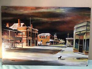 N Fenn Main Street Country Town Victoria Oil Painting