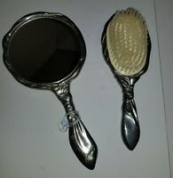 Vintage Silver or silver Plated Vanity Set Hand Mirror and Brush Antique