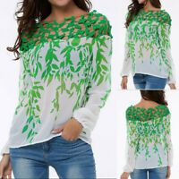 UK Fashion Women Summer Leaves Print Cool Lace Up Hollow Out Chiffon Top T Shirt