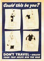 postcard war WW2 USA Vintage style advertising #137 DON'T TRAVEL