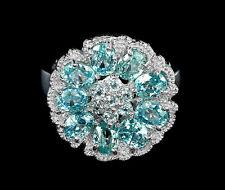 925 Silber Ring Weißgold beschichtet Sea Foam Blau Zirkon & Himmelblau Topas