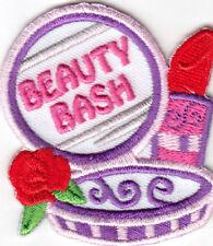 """""""BEAUTY BASH"""" Iron On Patch Girly Fashion Make-up Lipstick Nail Polish"""
