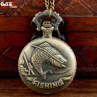 Antique Bronze Fishing Vintage Pocket Watch Pendant Chain Quartz Necklace Gift