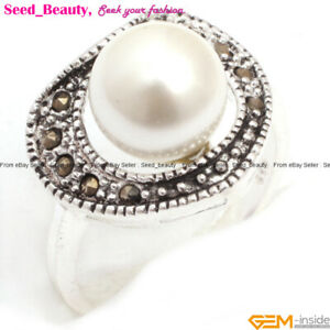 Vintage Gemstones Marcasite Beads Ball Silver Jewelry Ring Gift  US Size #7-#9