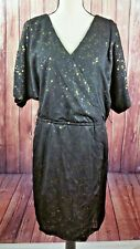 Ignite Evenings NEW Women 14W Plus Sequined Party Dress Black Dolman sleeve Prom