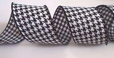 "5 Yards Black White Houndstooth Wired Ribbon Herringbone 2.5"" Wide 5 yds"