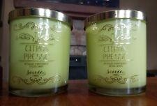 LOT OF 2 SOIREE Citron Presse Bougie Parfumme Scented Designer Candles 12 Oz. Ea