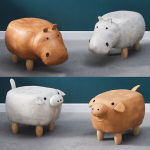 New Footstools Ottoman Animals Stool Large Hippo Pig Lovely Gift for Kids Adult
