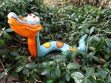 Keramik Hexe mit Vogel Deko Garten Terrasse Beet Figur Handarbeit Skulptur Rabe