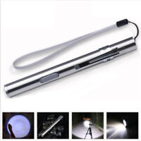 Waterproof Pocket LED Flashlight USB Rechargeable Torch Mini Penlight Lamp US
