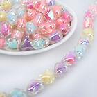 15 21mm Acrylic Beads Pastel beads Translucent Double Heart mixed 50pcs 10289250