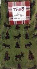 "Thro By Marlo Lorenz Throw Blanket Moose & Christmas Trees Green Brown 50"" X 60"""